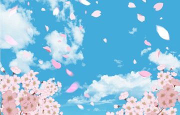 桜の空のイラスト