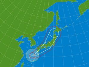 台風進路のイラスト